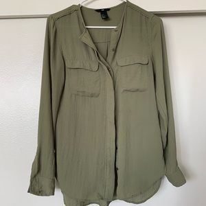 H&M olive long sleeve blouse S or 2